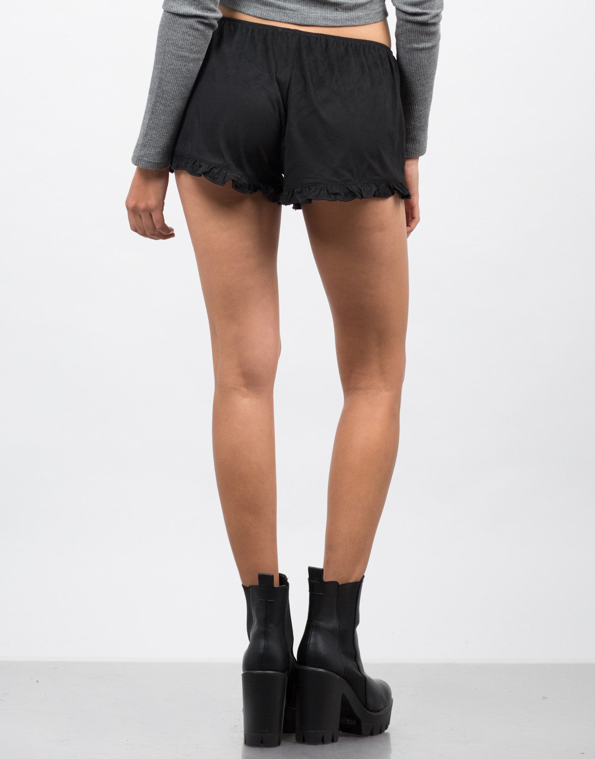 Back View of Ruffled Suede Shorts