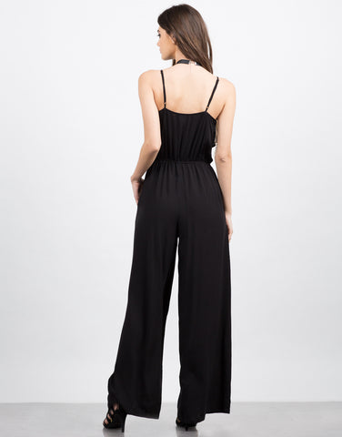 Back View of Ruffle Flared Jumpsuit