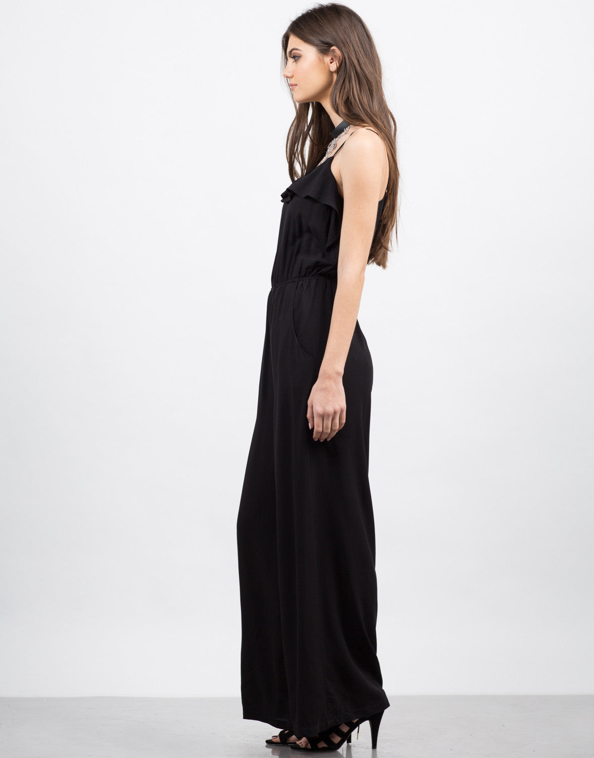Side View of Ruffle Flared Jumpsuit