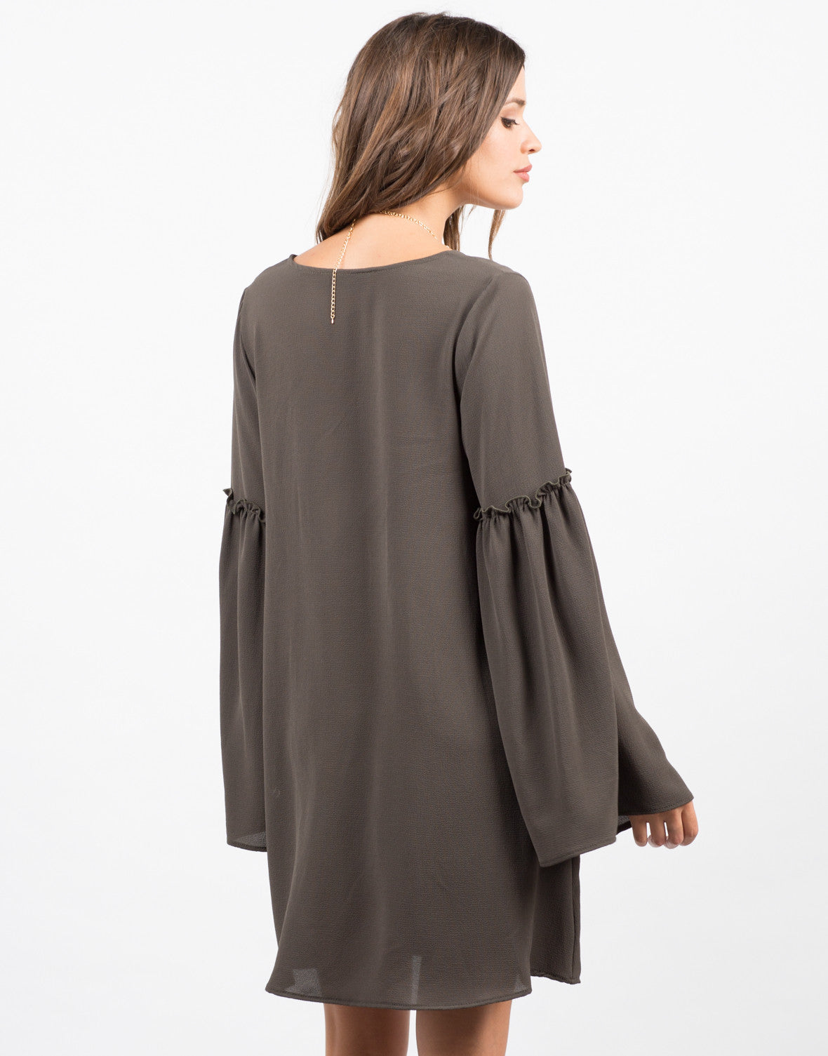 Back View of Ruffle Flare Sleeve Dress