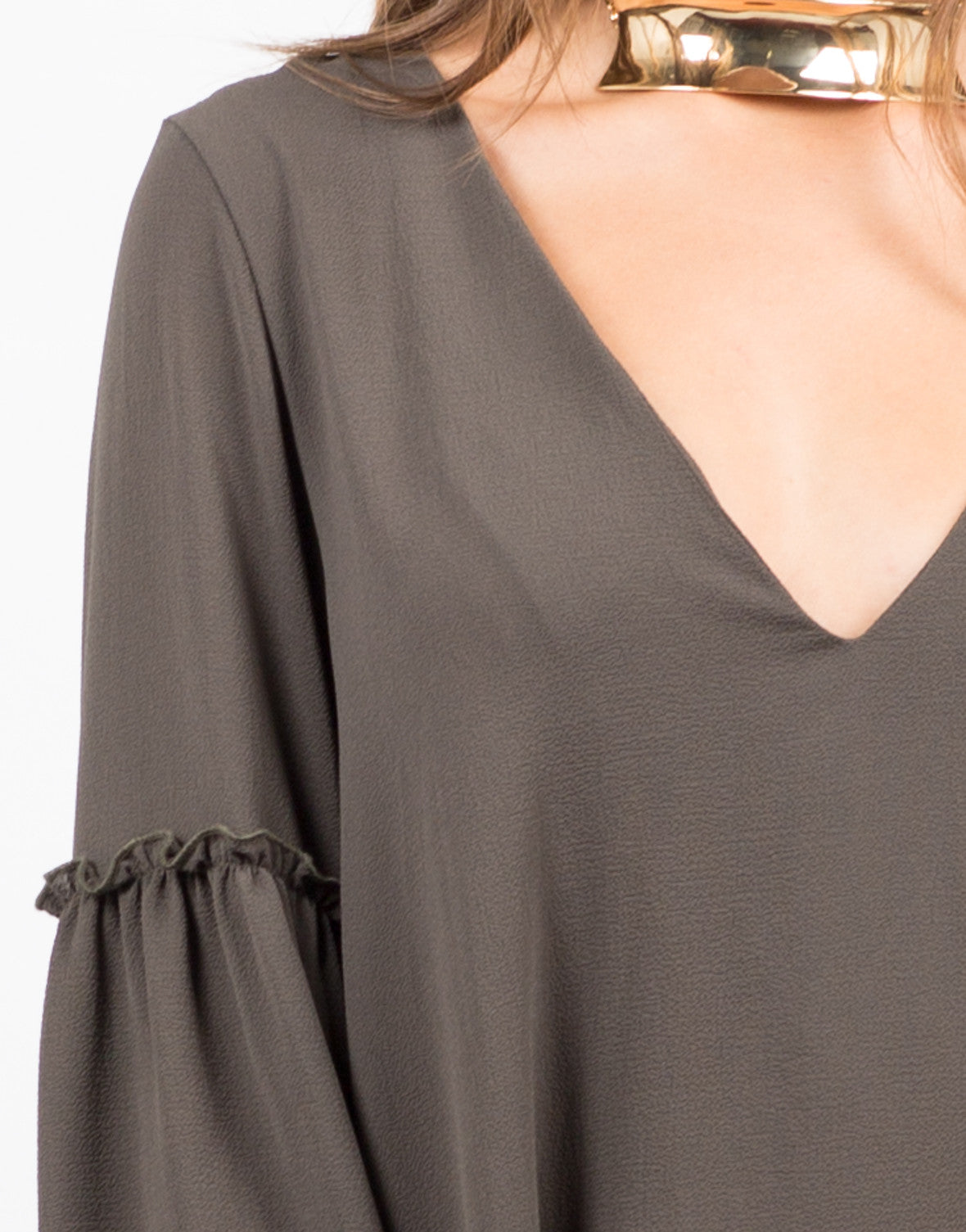 Detail of Ruffle Flare Sleeve Dress