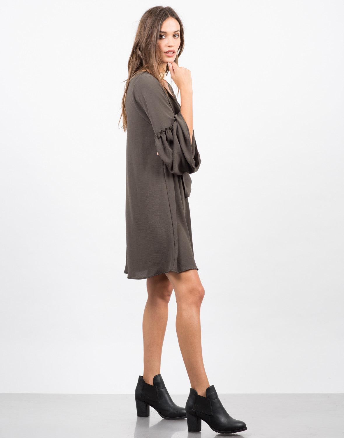 Side View of Ruffle Flare Sleeve Dress