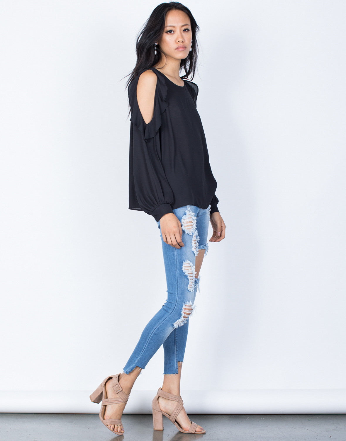 Black Ruffles for Days Blouse - Side View