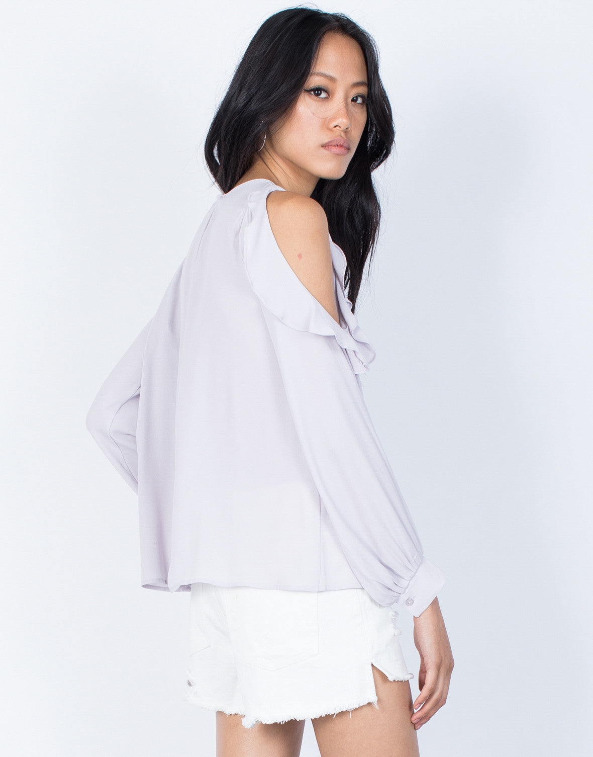Lilac Ruffles for Days Blouse - Back View