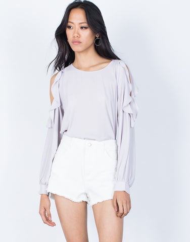 Lilac Ruffles for Days Blouse - Front View