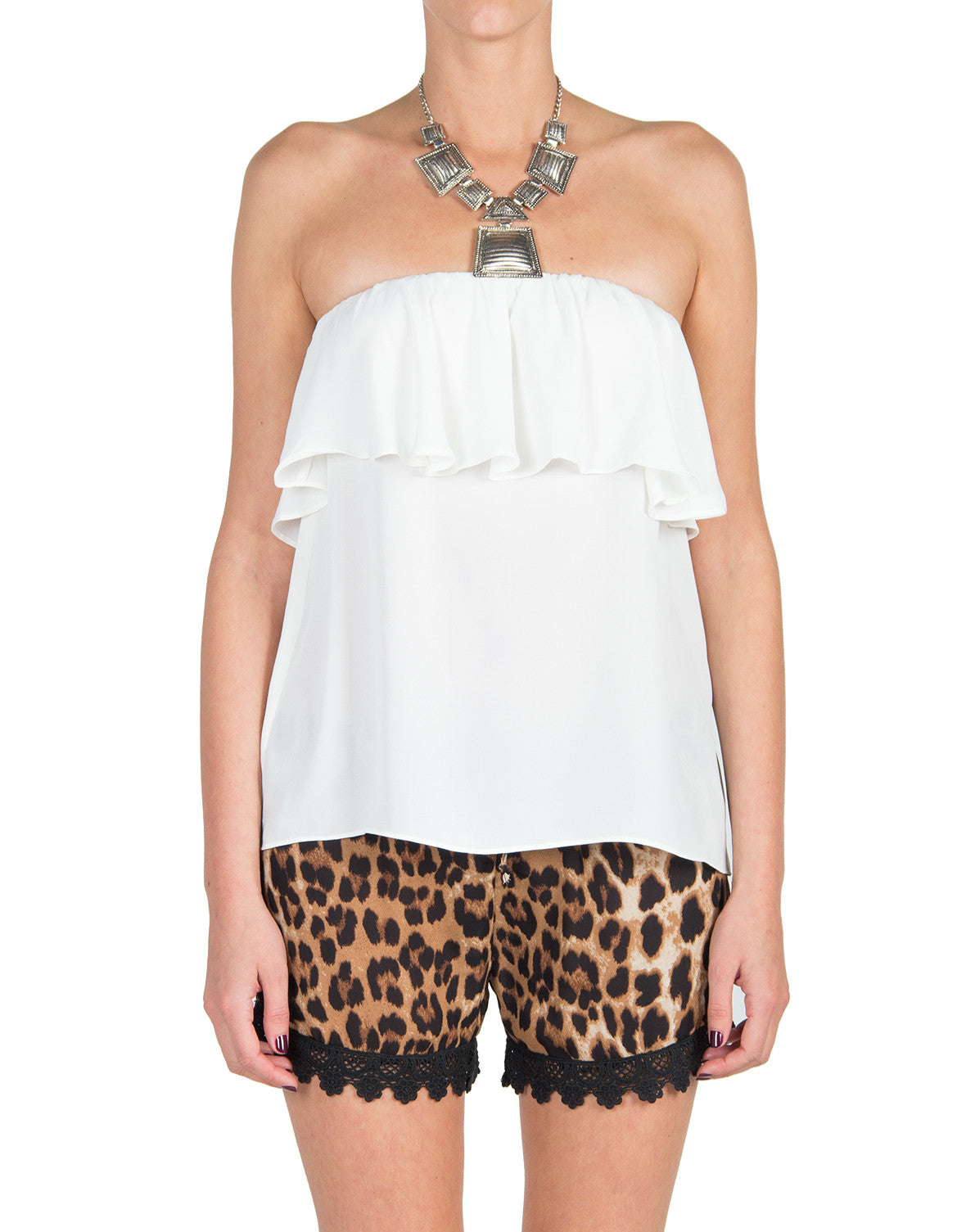 Ruffle Strapless Top - Cream - Large