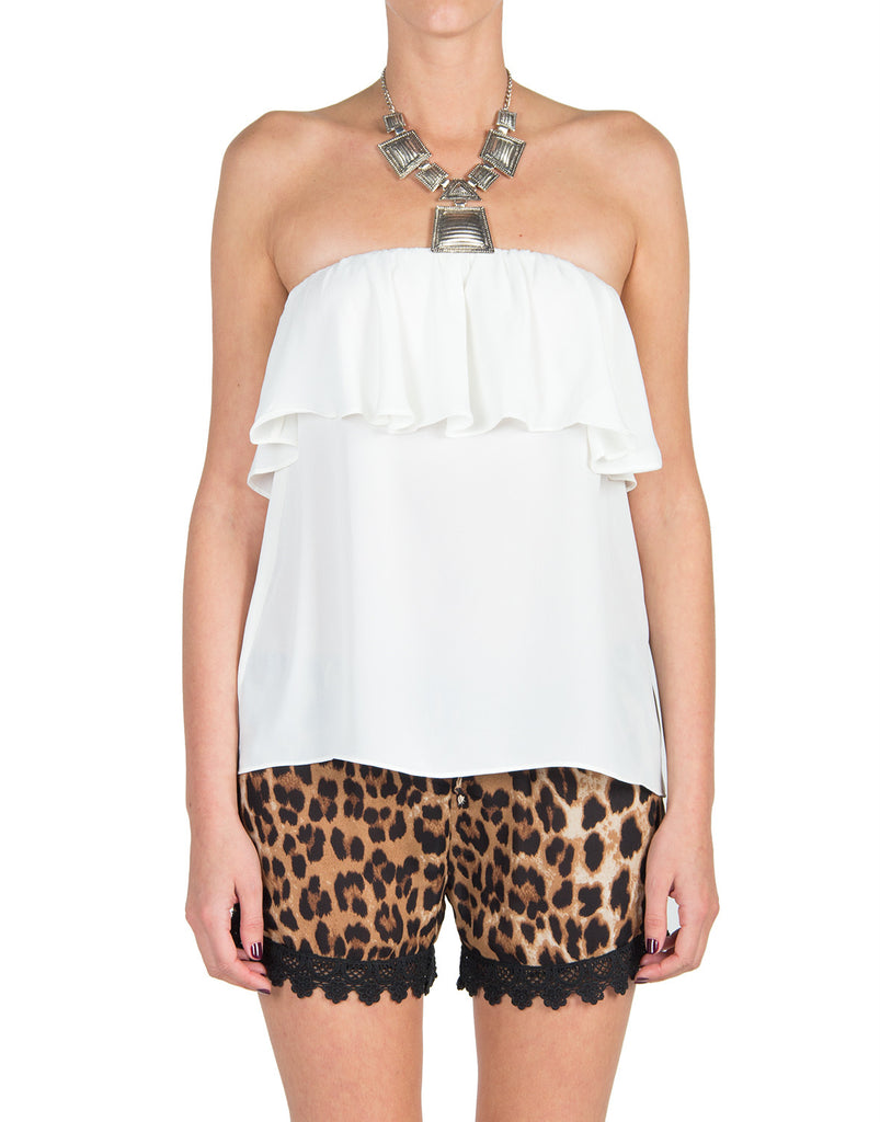 Ruffle Strapless Top - Cream - Large - 2020AVE