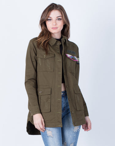 Front View of Run the Show Military Jacket