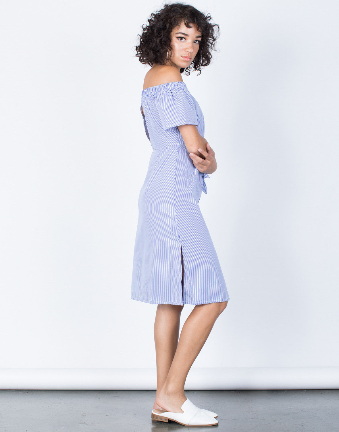 Blue Sail Away Striped Dress - SIde View