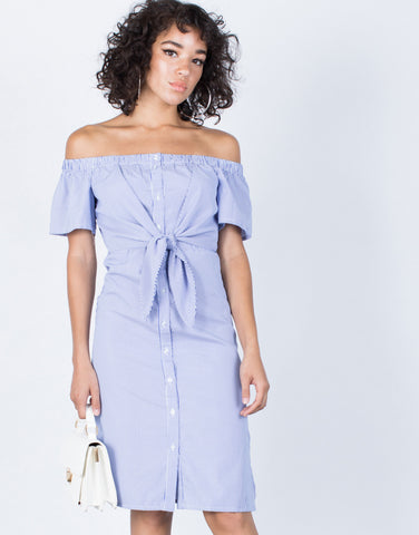 Blue Sail Away Striped Dress - Front View