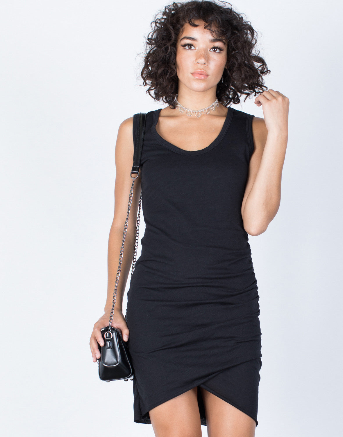 Black Samantha Ruched Dress - Front View
