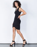 Black Samantha Ruched Dress - Side View