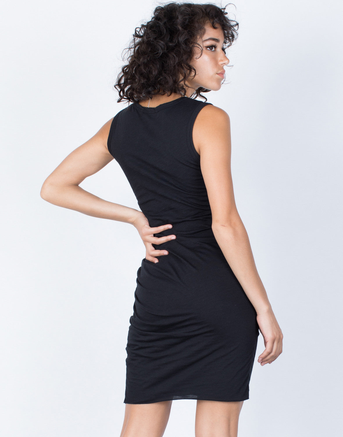 Black Samantha Ruched Dress - Back View