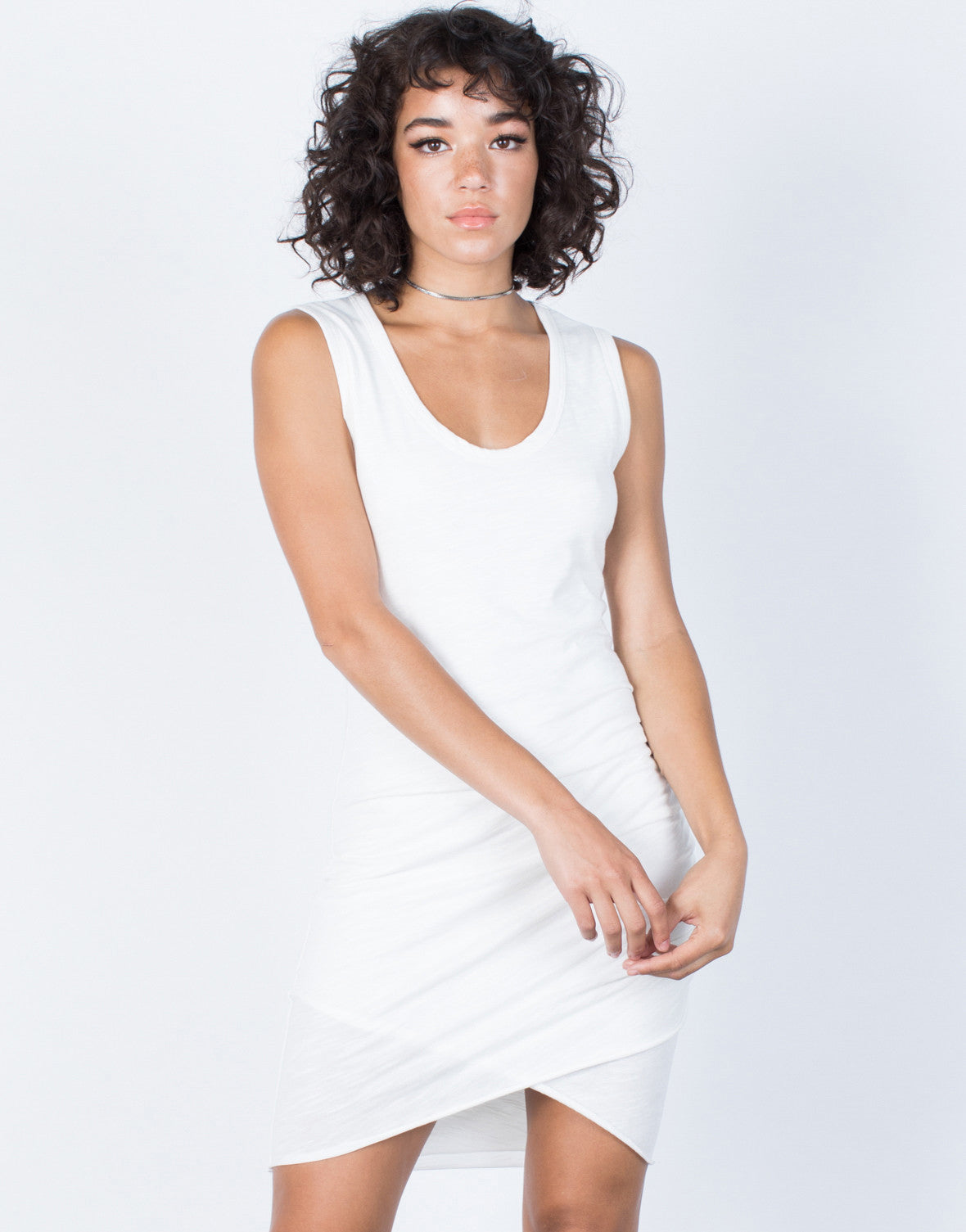 White Samantha Ruched Dress - Front View
