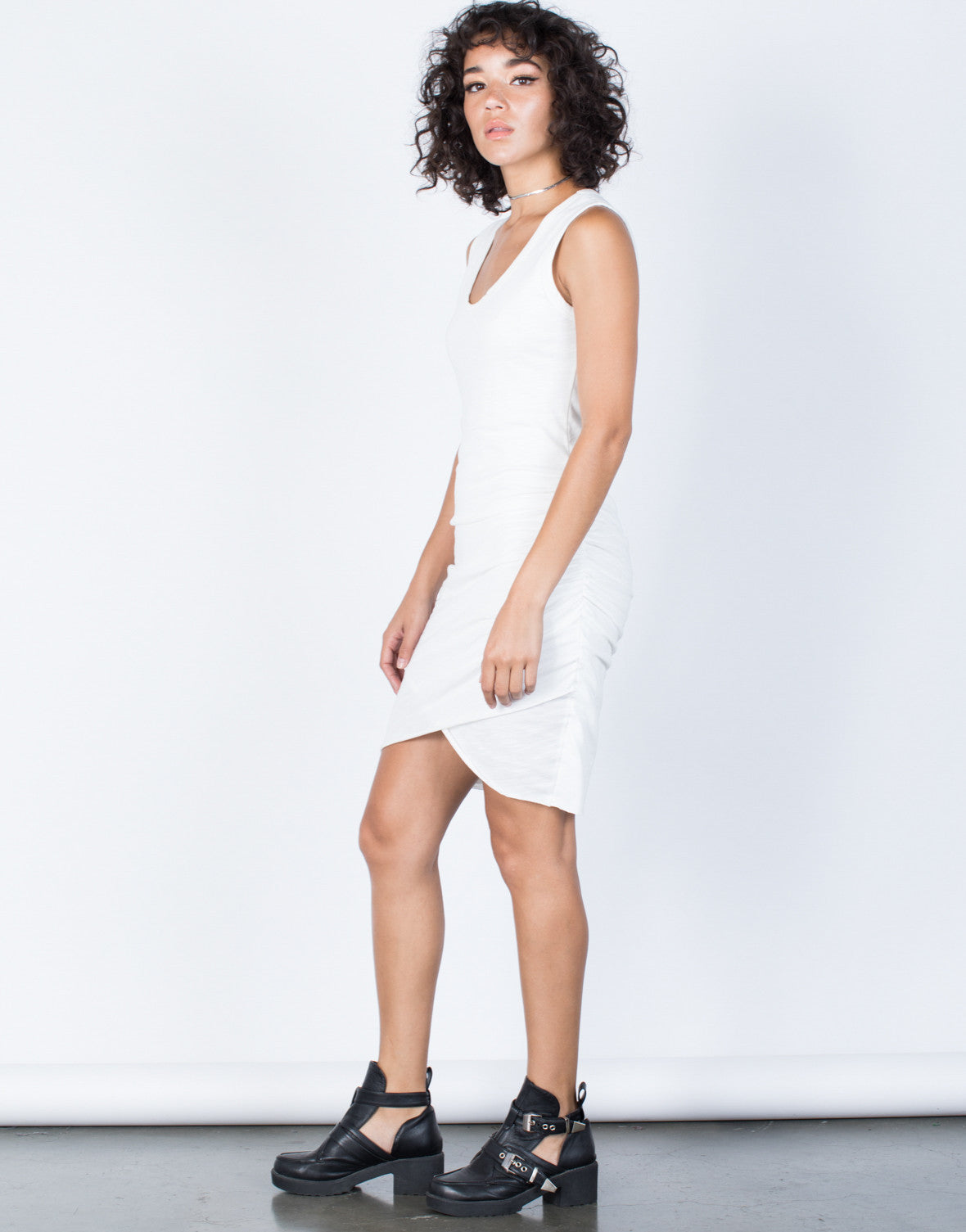 White Samantha Ruched Dress - Side View