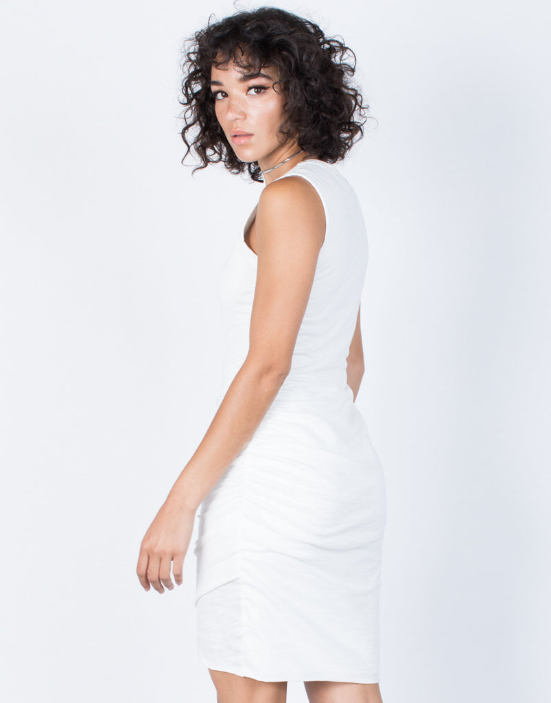 White Samantha Ruched Dress - Back View