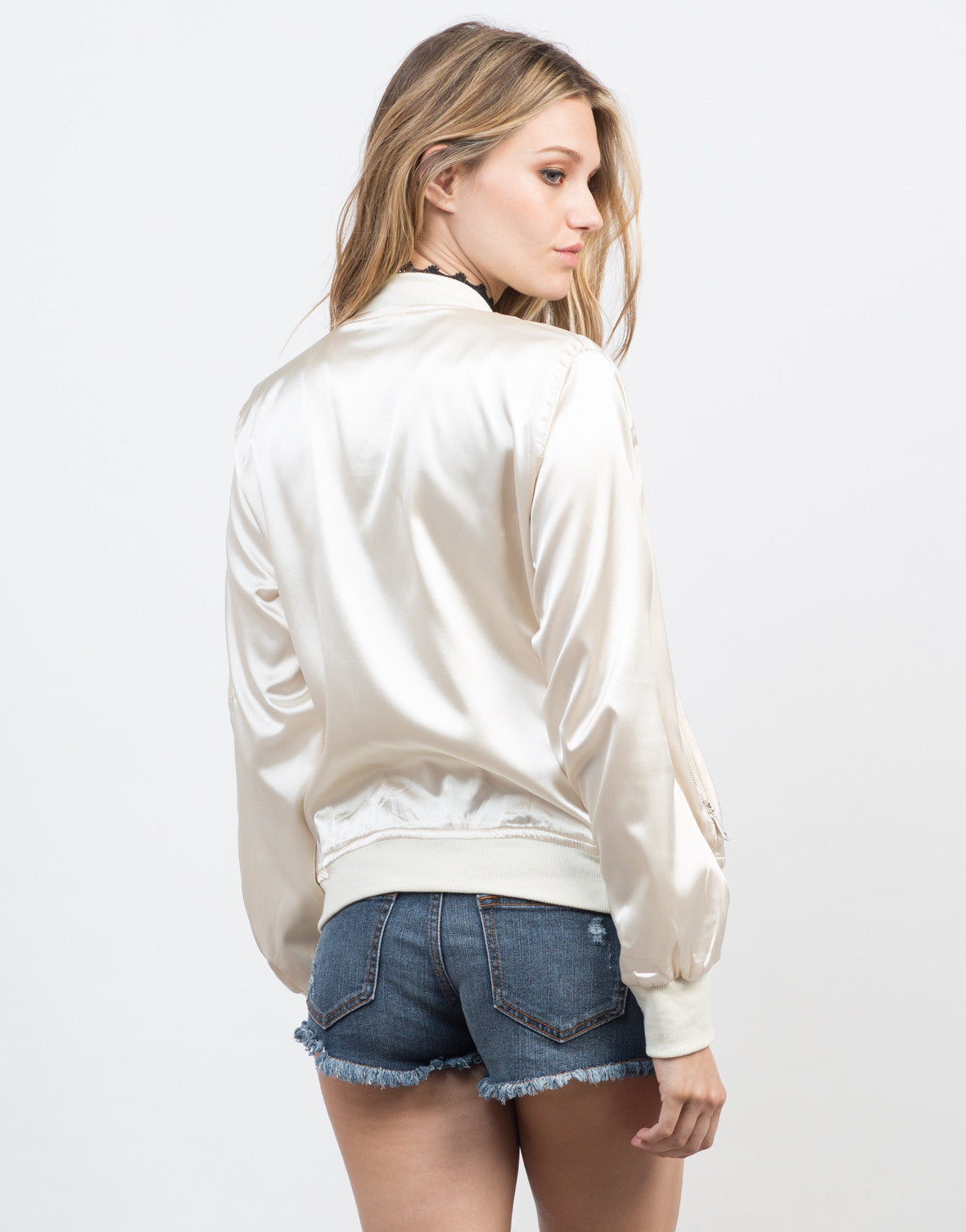 Back View of Satin Bomber Jacket
