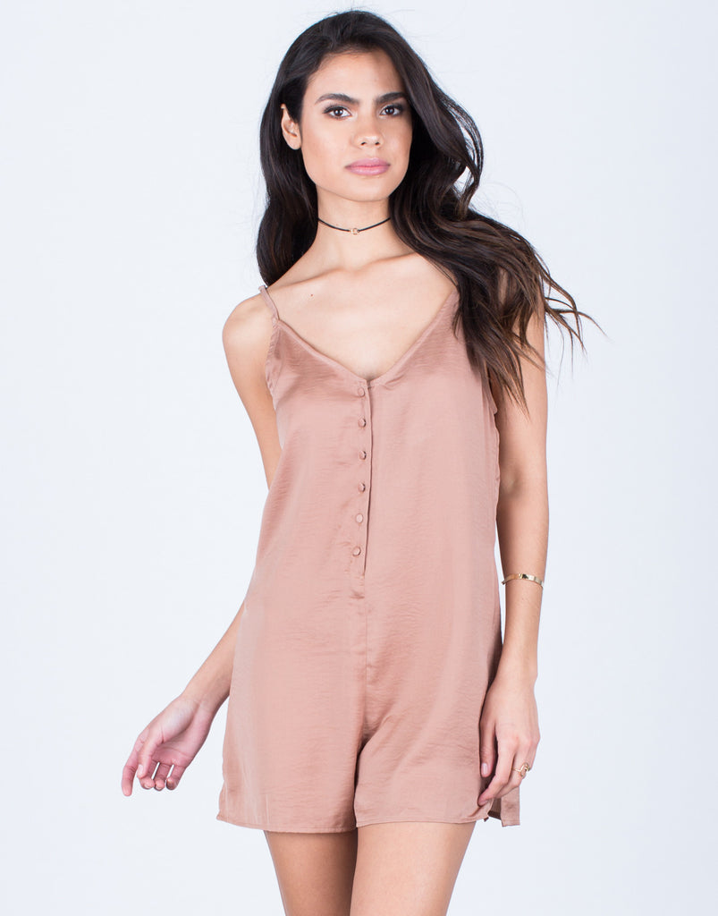 Satin Button Down Romper - 2020AVE