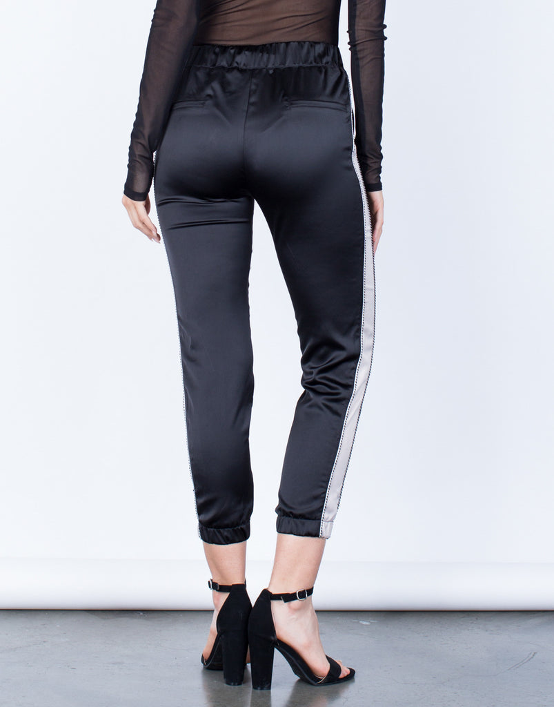 Back View of Satin Contrast Pants