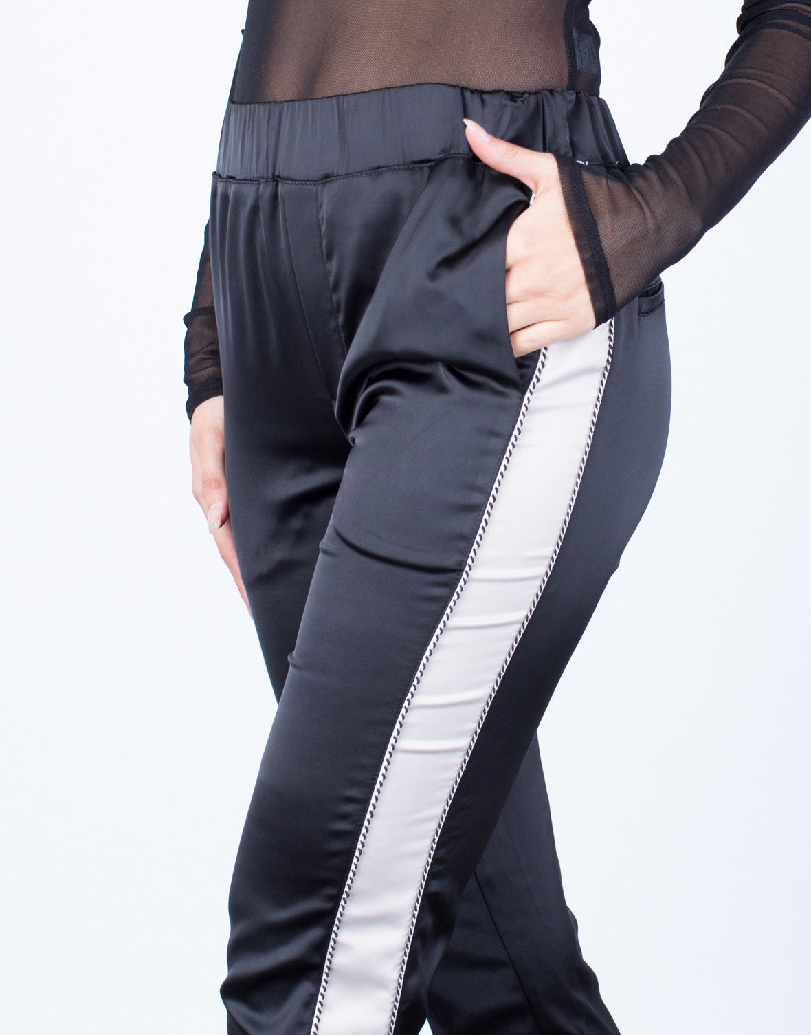 Detail of Satin Contrast Pants