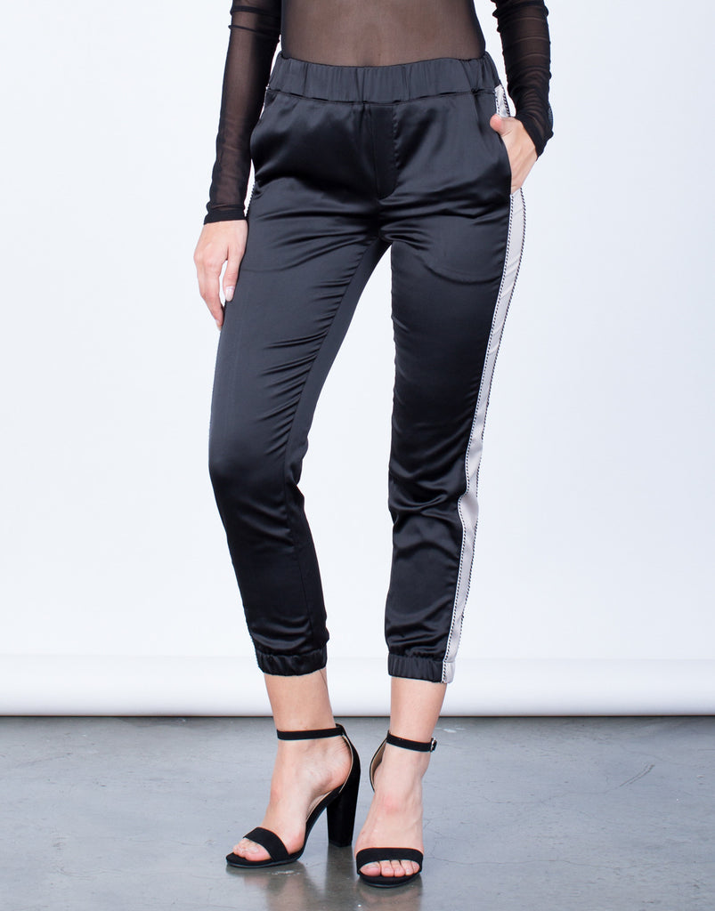 Front View of Satin Contrast Pants