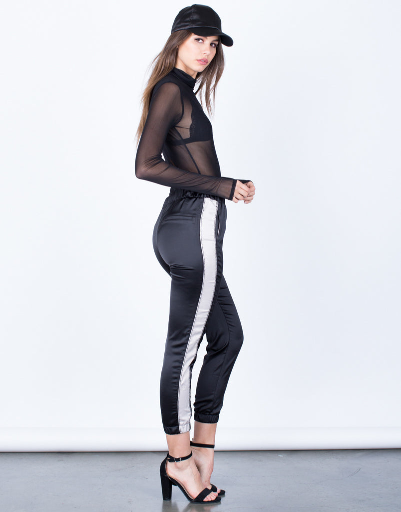 Side View of Satin Contrast Pants