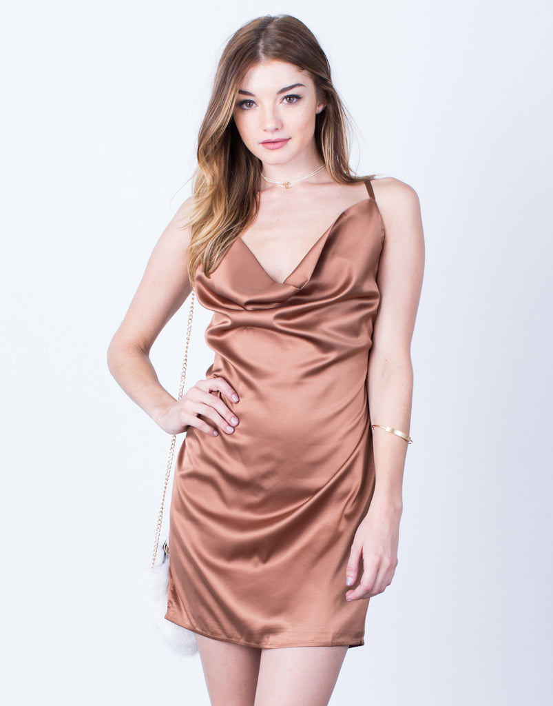 Satin Draped Party Dress - 2020AVE