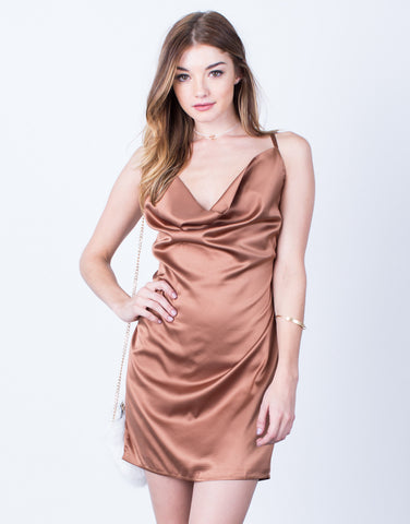Satin Draped Party Dress
