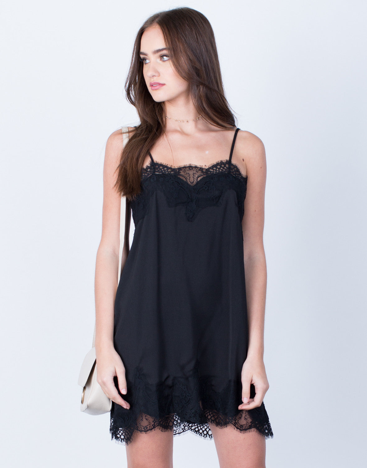 Front View of Satin Lace Slip Dress