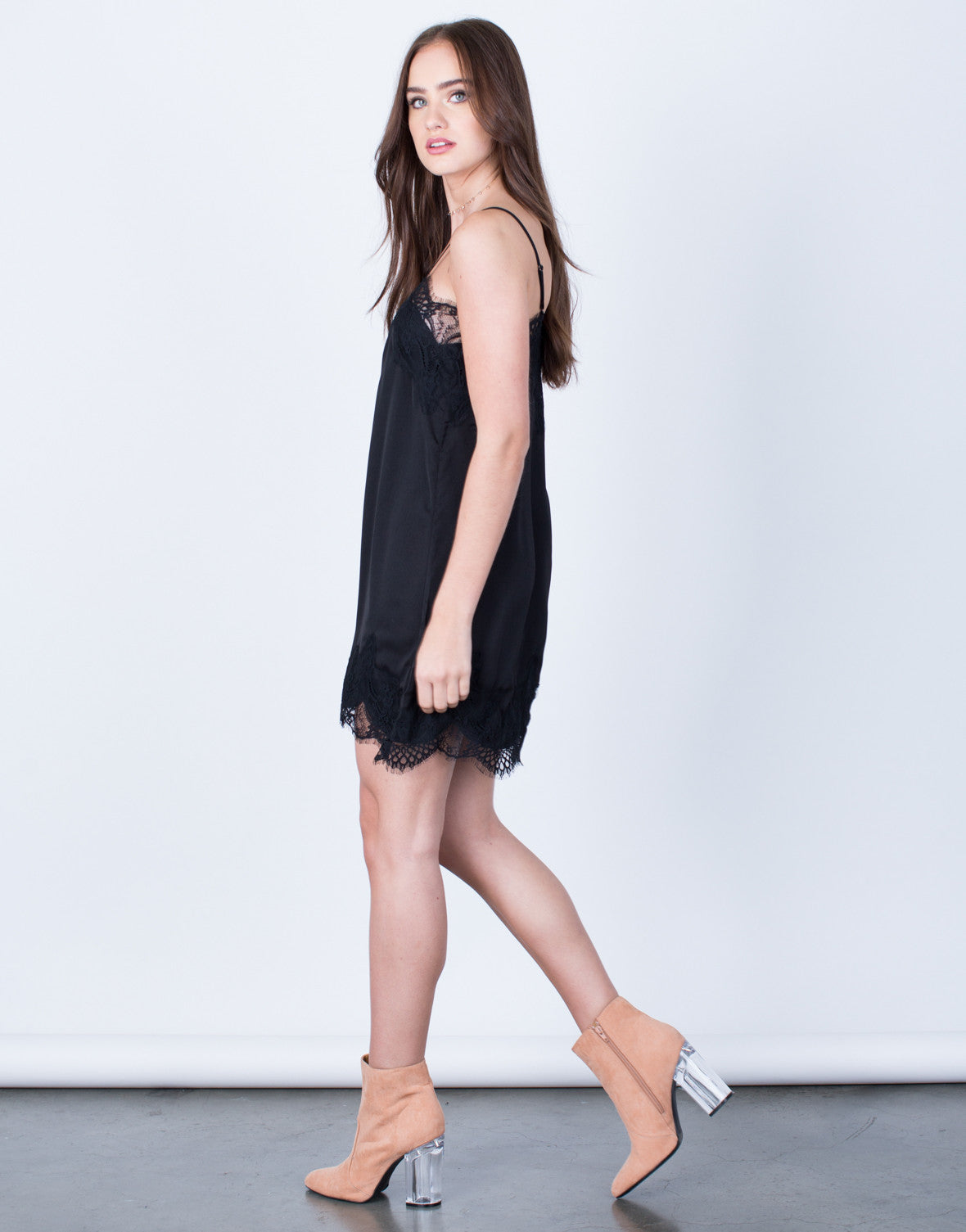 Side View of Satin Lace Slip Dress