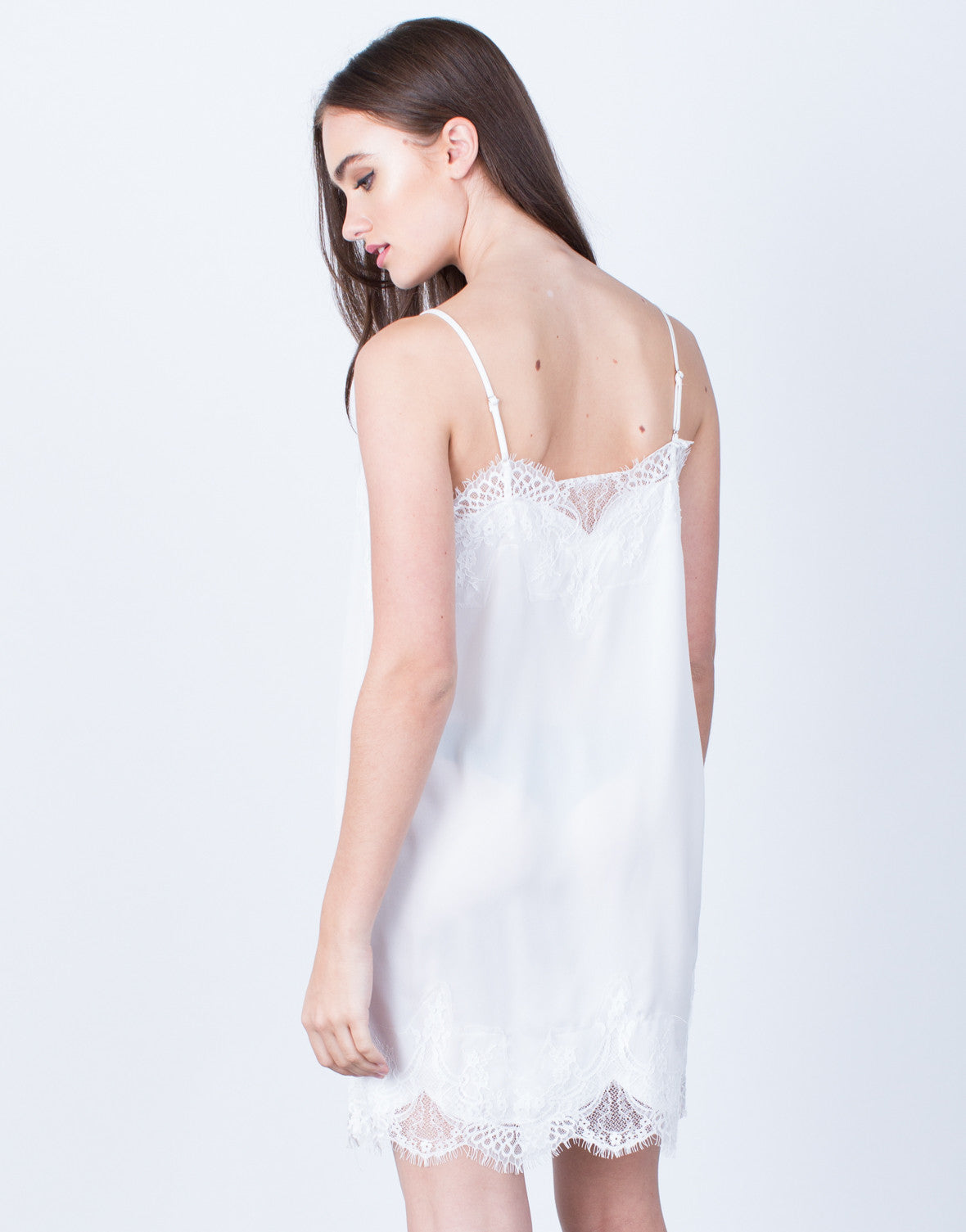 Back View of Satin Lace Slip Dress