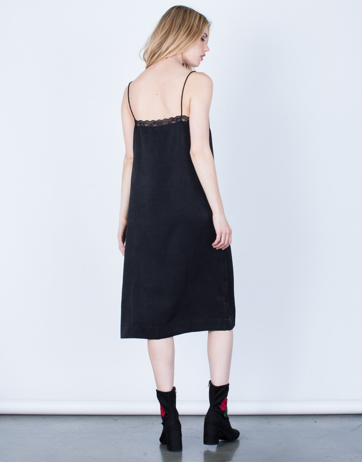 Back View of Satin Lacey Midi Dress