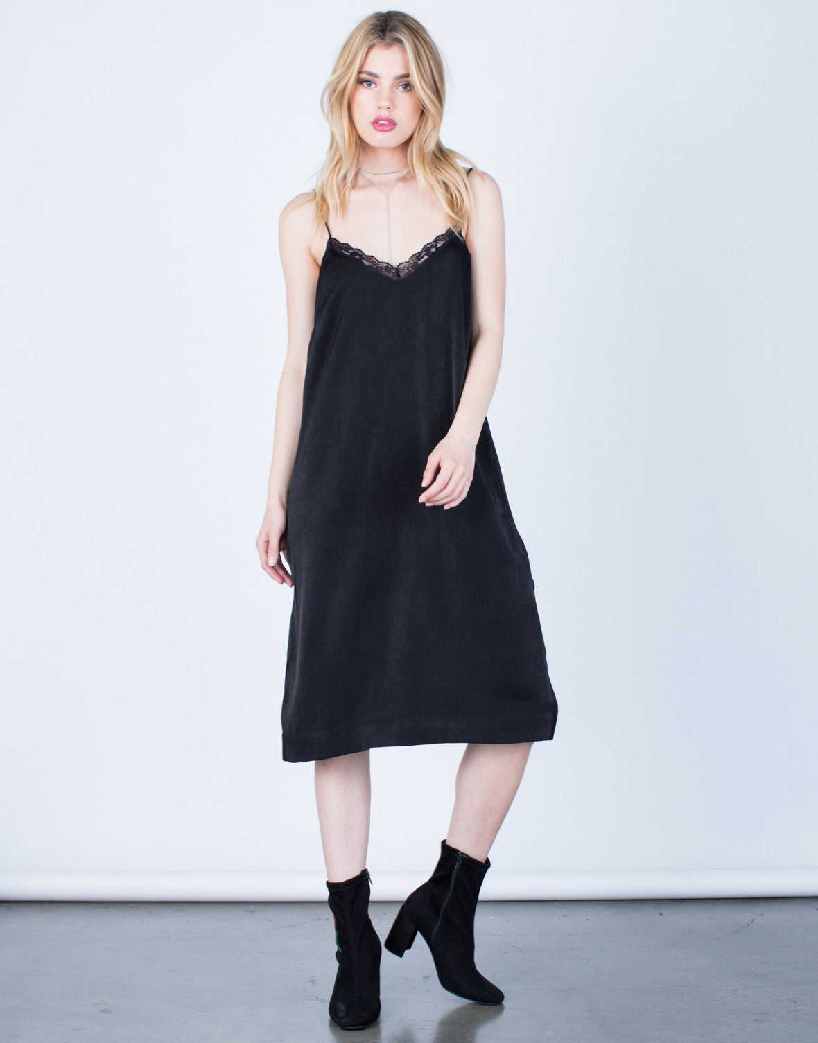 Front View of Satin Lacey Midi Dress