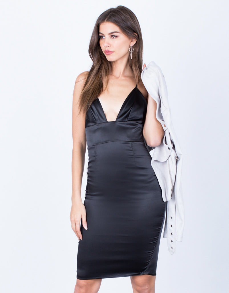 Front View of Satin Midi Dress