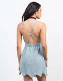 Back View of Scallop Embroidered Dress