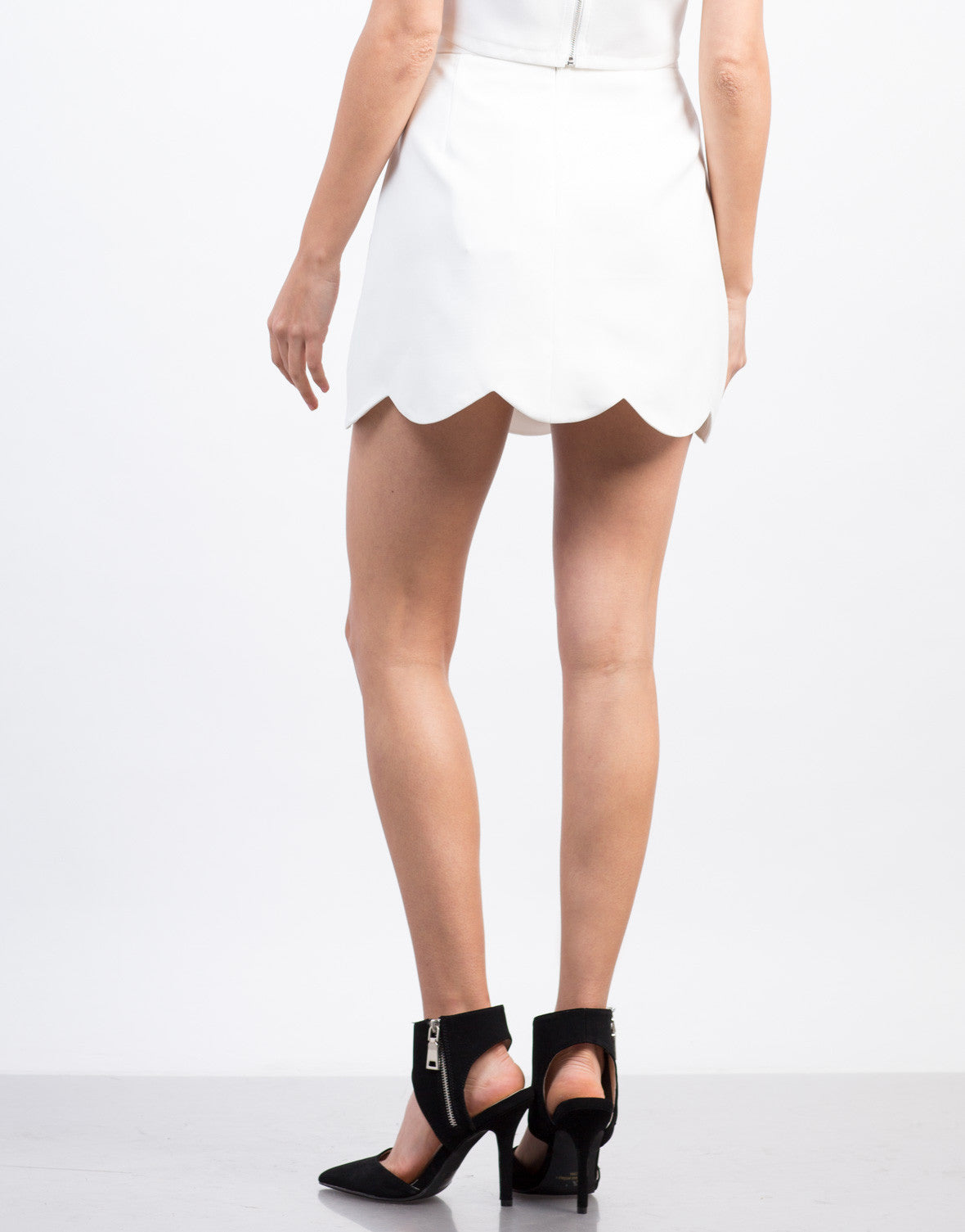 Back View of Scallop Mini Skirt