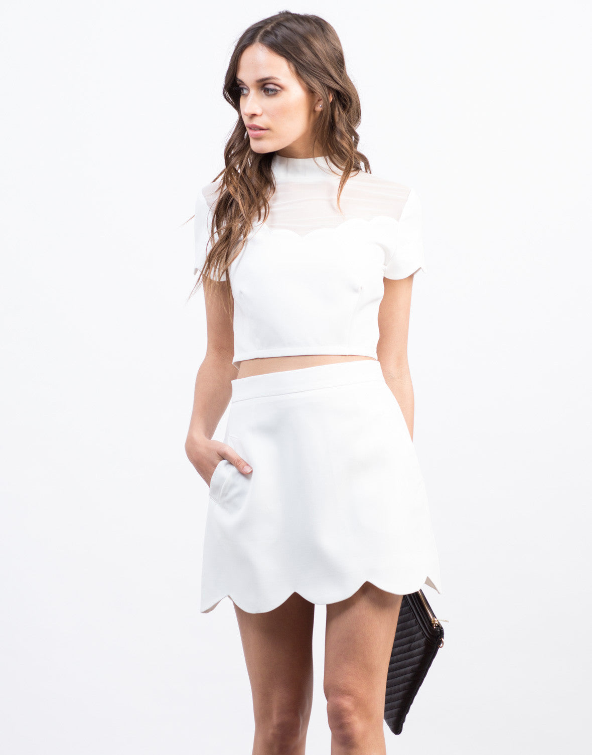 Front View of Scallop Mini Skirt