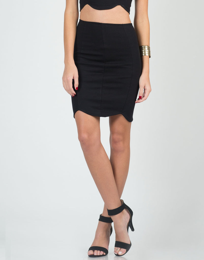 Scalloped Bodycon Skirt - Small - 2020AVE
