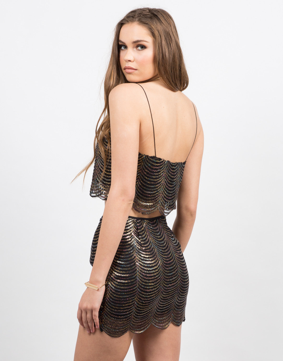 Back View of Scalloped Sequin Crop Top