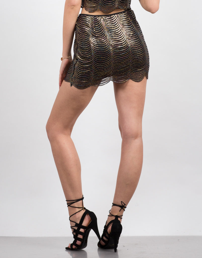 Scalloped Sequin Mini Skirt - 2020AVE