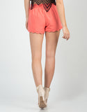 Back View of Scalloped Woven Shorts