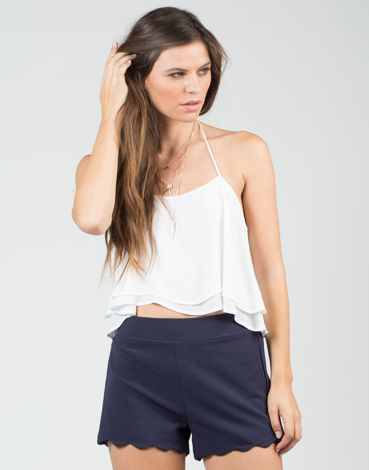Front View of Scalloped Woven Shorts