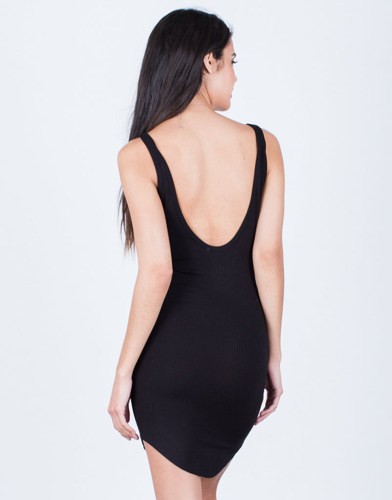 Back View of Scoop Back Ribbed Dress