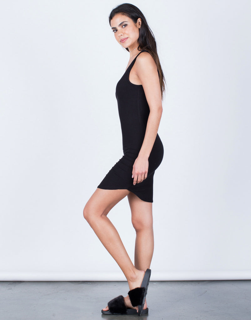 Side View of Scoop Back Ribbed Dress