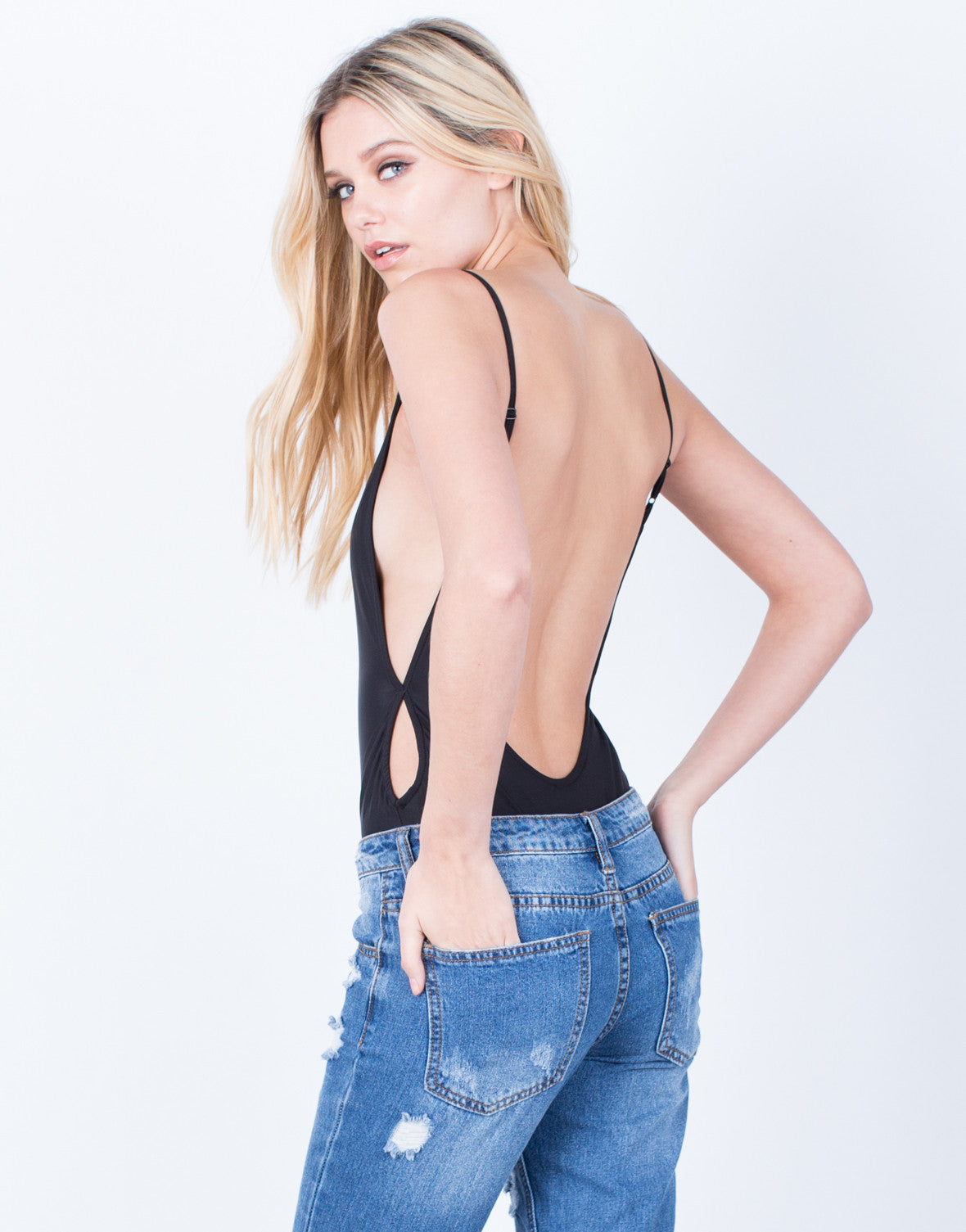 Back View of Scoop Me Up Bodysuit