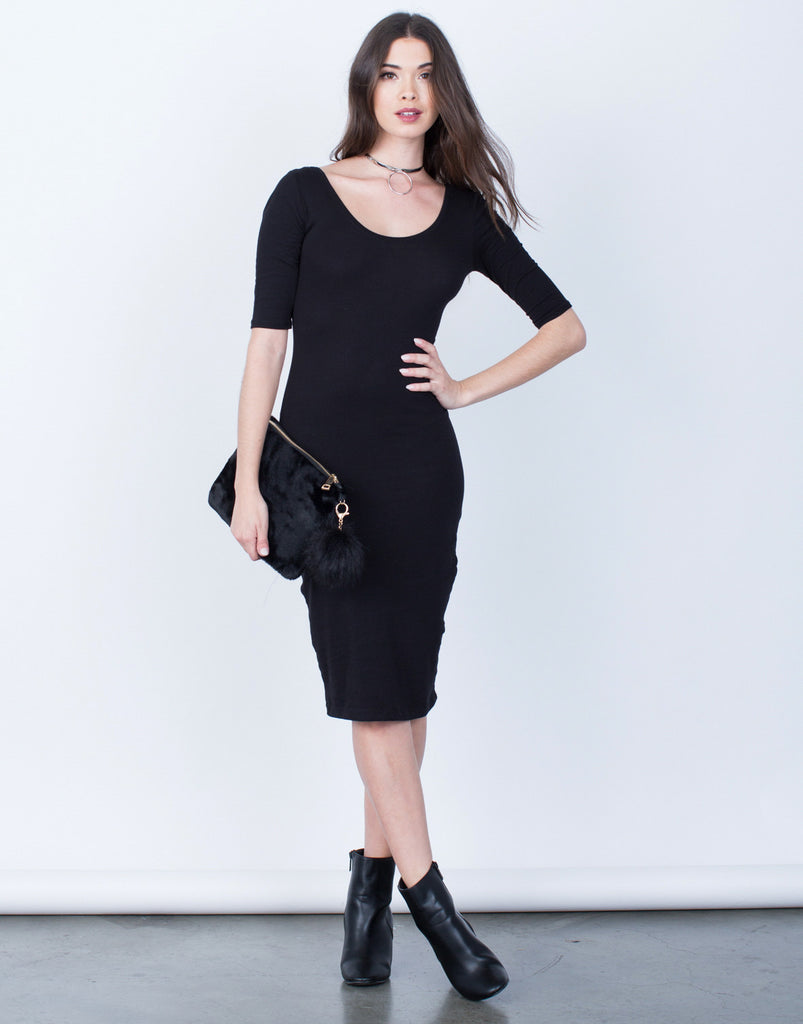 Front View of Scoop Neck Bodycon Dress