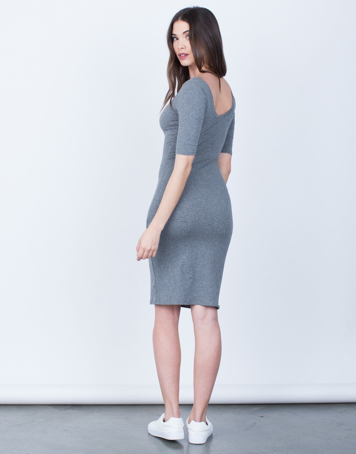 Back View of Scoop Neck Bodycon Dress