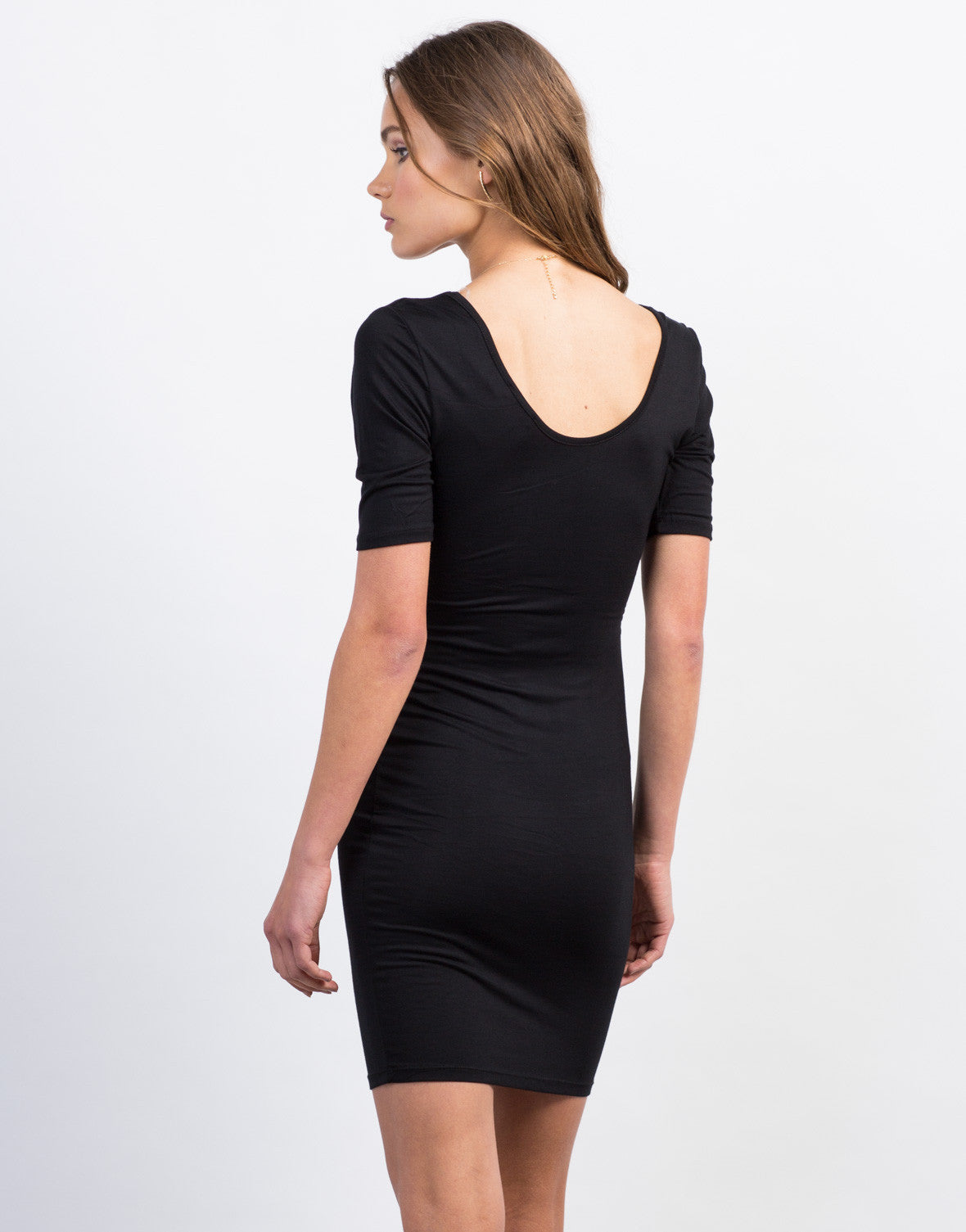 Back View of Scoop Neck Day Dress