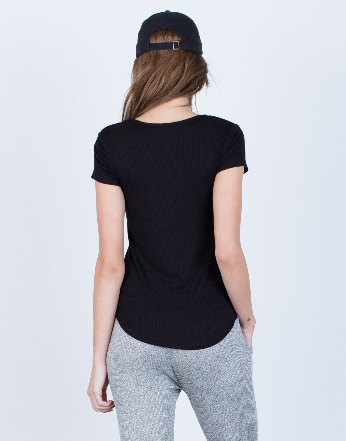 Back View of Scoop Neck Knit Tee
