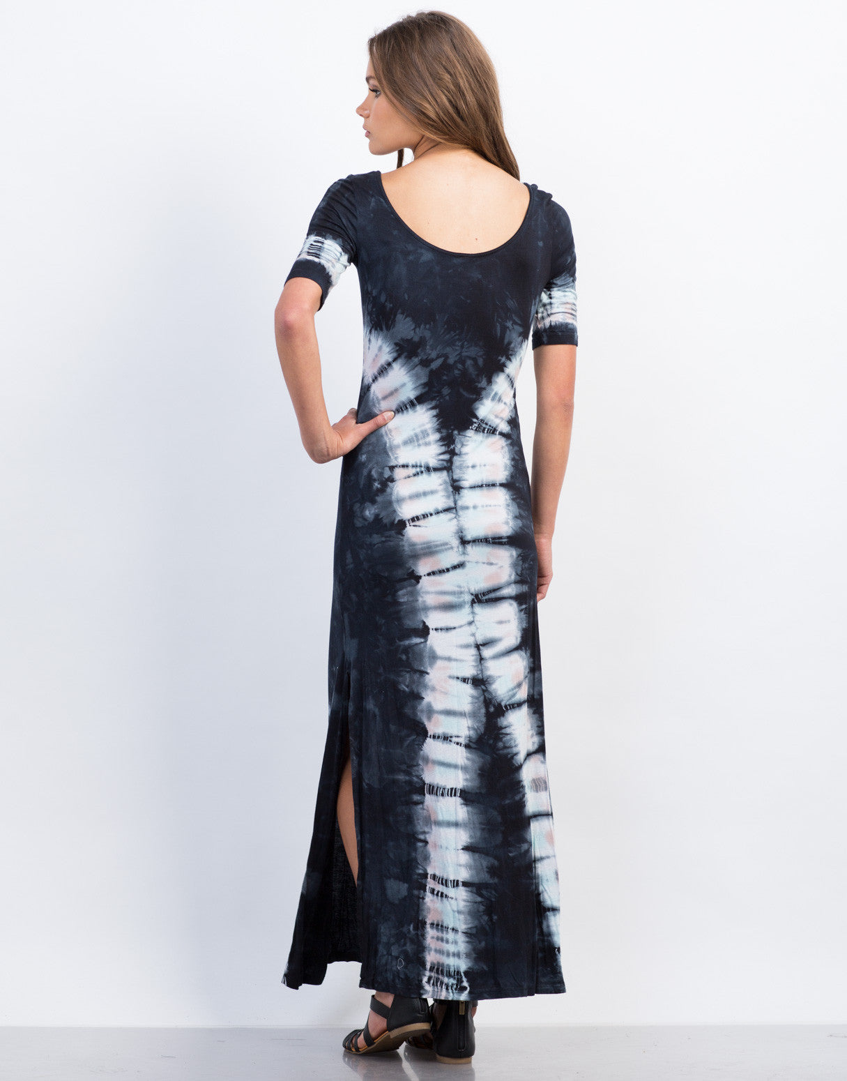 Back View of Scoop Neck Tie-Dye Maxi Dress